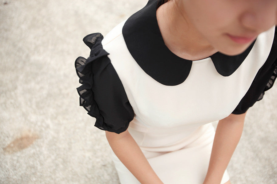 Colour Block Dress with Ruffled Sleeves
