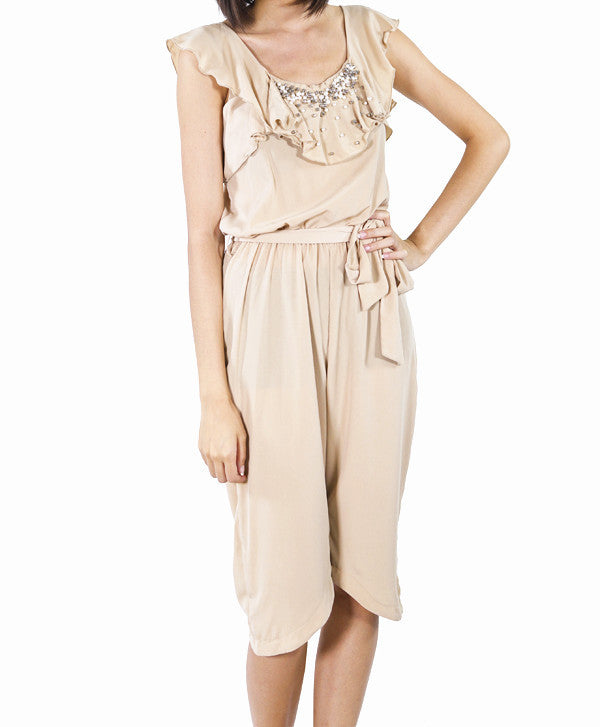 Pearl and Bejewelled Frill Jumpsuit