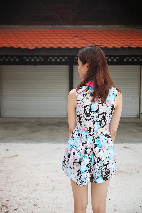 Floral Print Dress with Colour Block Colla