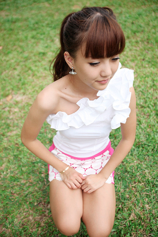 Toga Top with Frilly Shoulder