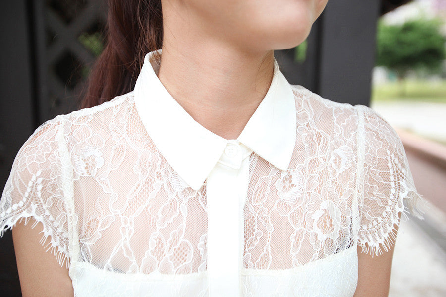Lace Collared Button Down Top