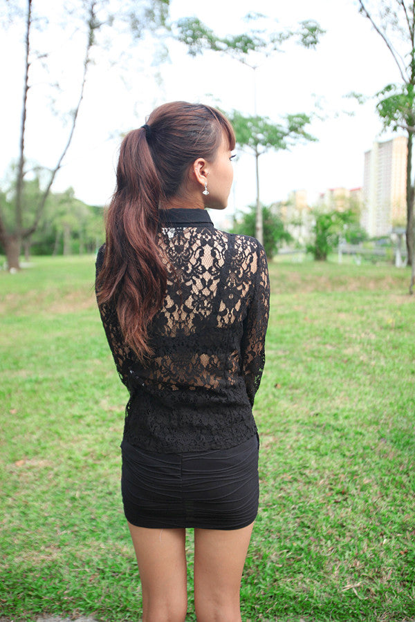 Sleeved Shirt with Lace Detail