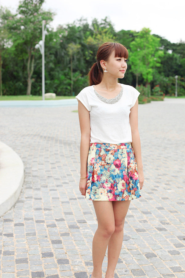 A-line Divided Skirt with Floral Prints