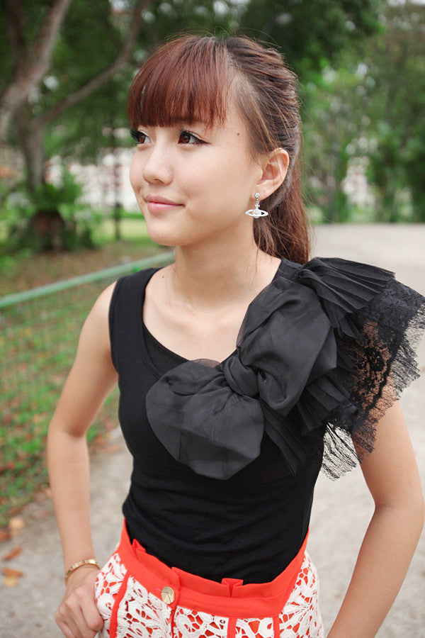 Tank Top with Lace Sleeve and Oversized Bow