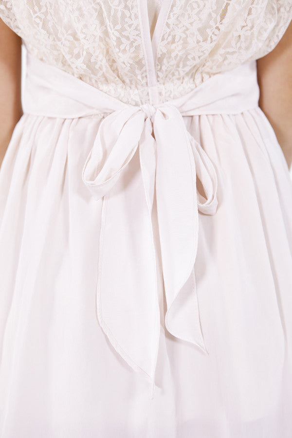Dress with Lace and Pleated Waist