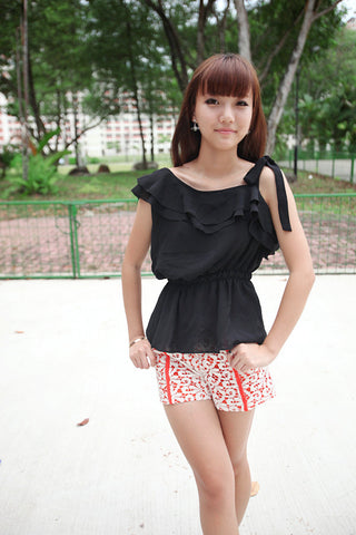 Ruffle Top with Elastic Waistband