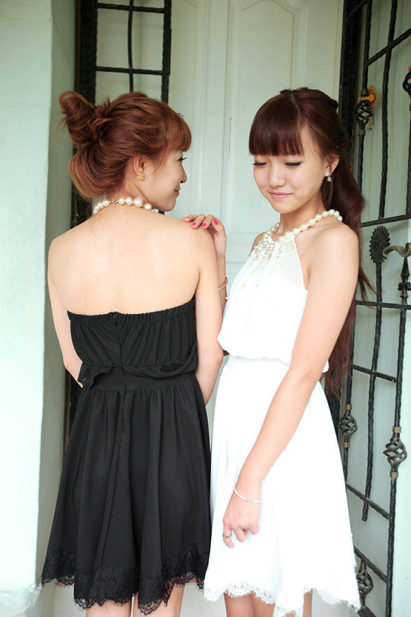 Dress with Pearl Neckline
