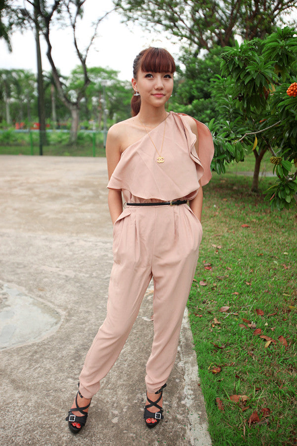 Toga Jumpsuit with Frilly Shoulder