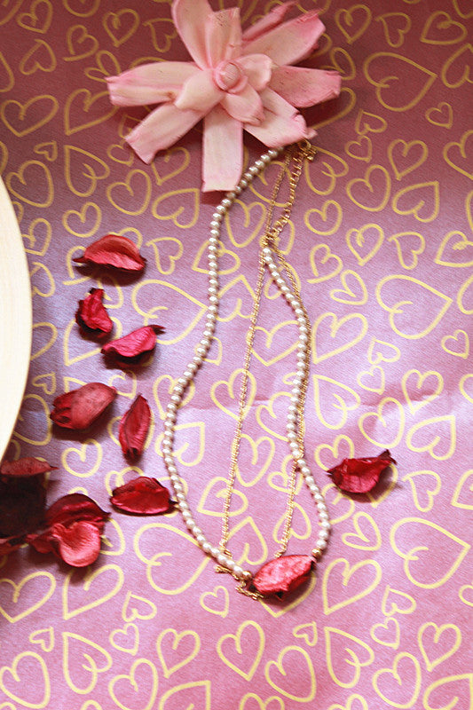 Preserved Flower Pearl Necklace