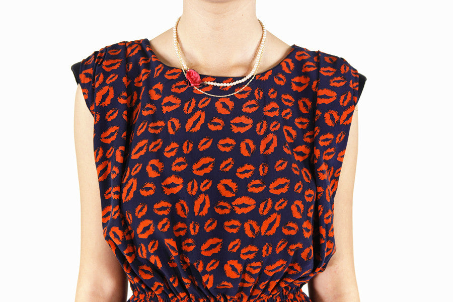 Sexy Lip Print Shoulder-pad Dress