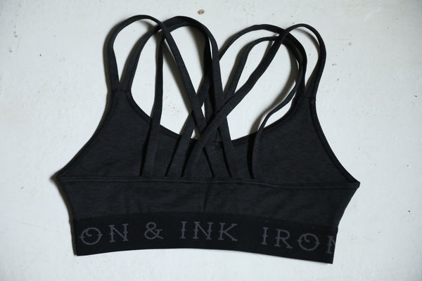 "Women's ""Rose"" Performance Line- Sports Bra- Heather Black"