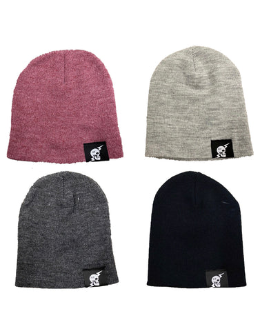 """NEW"" Skull and Bolt Loop Tag Beanie- Black/Burgundy/Light Grey/Dark Grey"