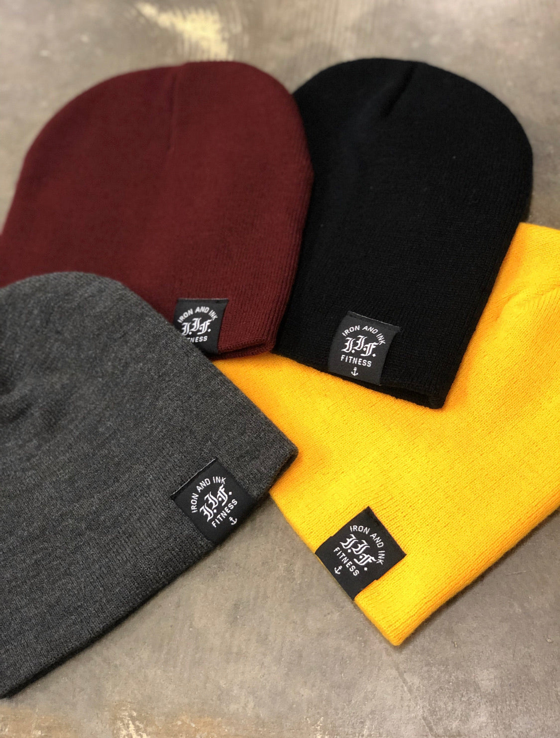 Loop Tag Beanie- Black/Gold/Burgundy/Grey