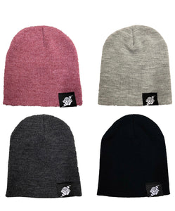 """NEW"" Rose and Bolt Loop Tag Beanie- Black/Burgundy/Light Grey/Dark Grey"