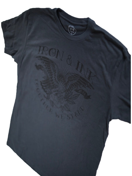 """EXCLUSIVE"" Eagle and Rose Unisex Tee Shirt- Graphite/Black"