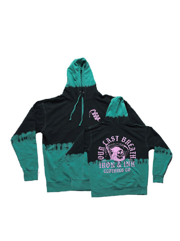 """NEW"" Reaper Custom Dyed Unisex Hoodie- Black/Teal"