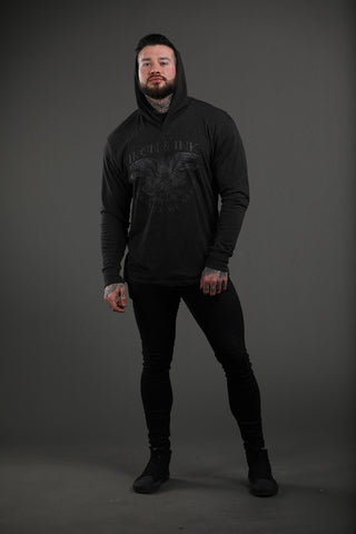 """EXCLUSIVE"" Eagle and Rose Unisex Hoodie Tee- Black/Black"