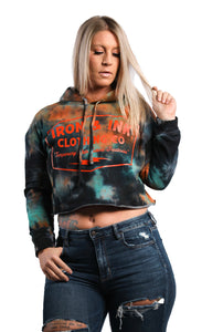 """NEW"" Ladies Custom Dyed Crop Hoodie- Tequila Sunrise"