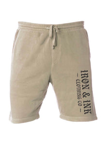 """NEW"" IIF Unisex Pigment Dyed Sweat Shorts- Tan"