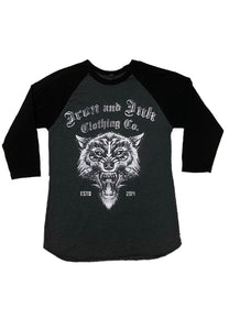 """NEW"" Wolf Unisex 3/4 Raglan- Grey/Black"