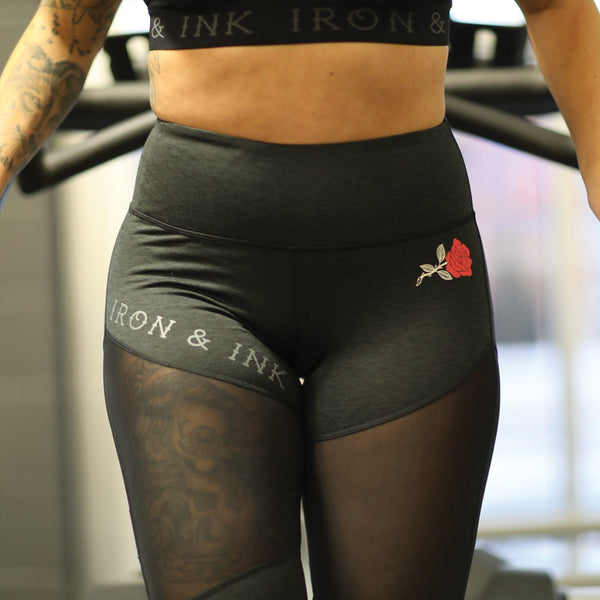 "Women's ""Rose"" Performance Line- High Waisted Leggings- Heather Black"
