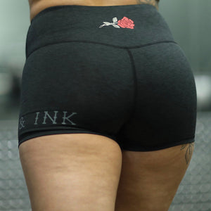 "Women's ""Rose"" Performance Line- High Waisted Shorts- Heather Black"