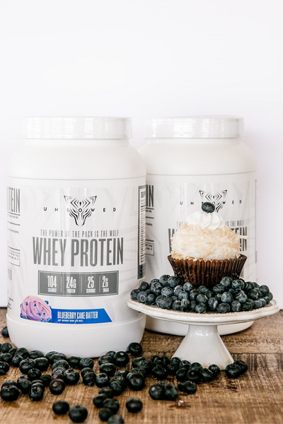 UNBOWED Grass-Fed Whey Protein Concentrate in Blueberry Cake Batter flavor