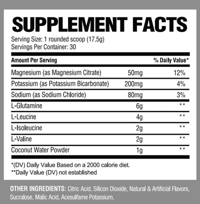 UNBOWED BCAA / Hydrator / Glutamine Supplement Facts