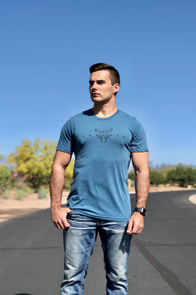 UNBOWED Men's Tri-Blend Tee in Blue Moon
