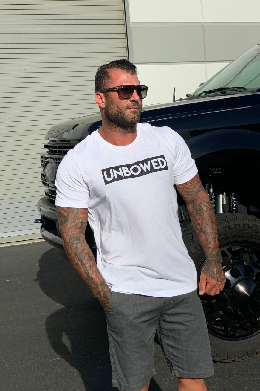 UNBOWED The Strength Of The Pack Is The Wolf Men's Tri-blend Tee in White