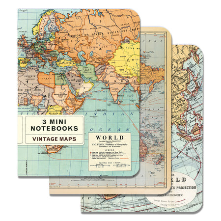 3 מחברות מיני : Vintage World Map