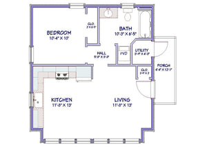Bridgeton Cottage Plan - 568 sq. ft.