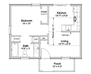 Dover Cottage Plan - 432 sq. ft.
