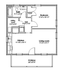 Forrest Grove Cottage Plan - 576 sq. ft.