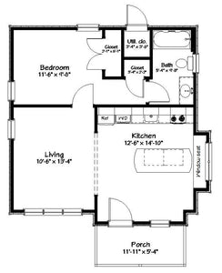 Richland Cottage Plan - 593 sq. ft.