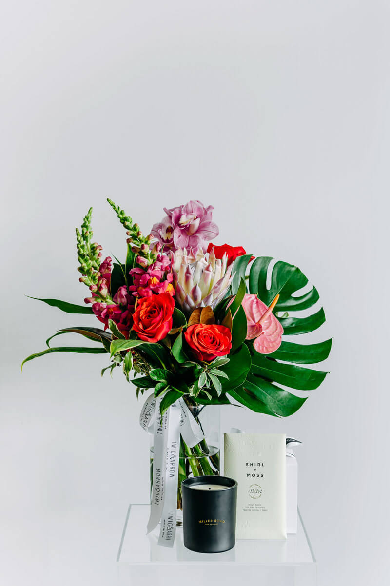Beautiful bouquet of flowers in pink. Botanical design and flower arrangement gift cards in Wellington