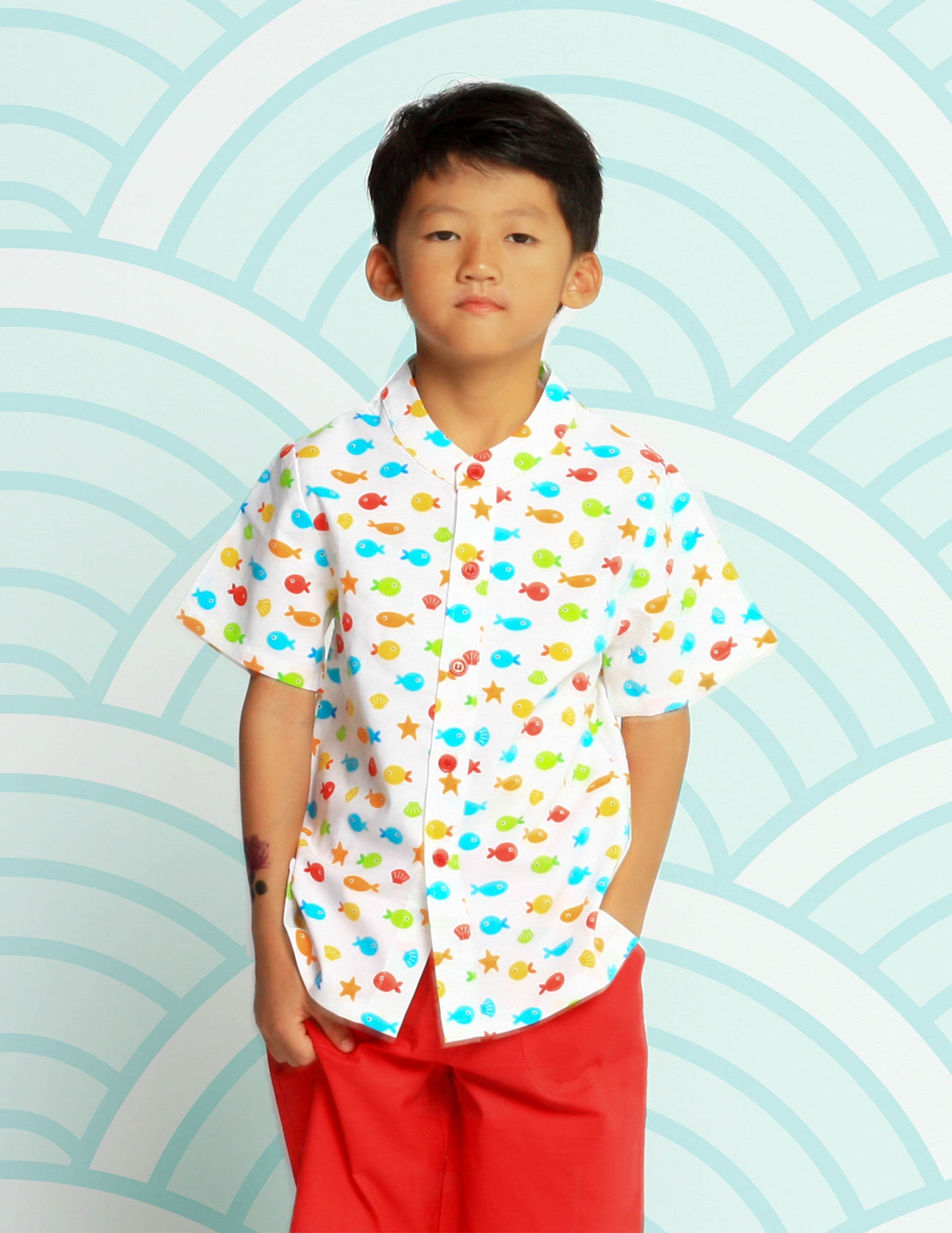 Sea Life in Harmony Mandarin Collar Shirt & Red Shorts