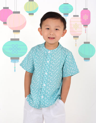Rice Paper in Green Mandarin Shirt