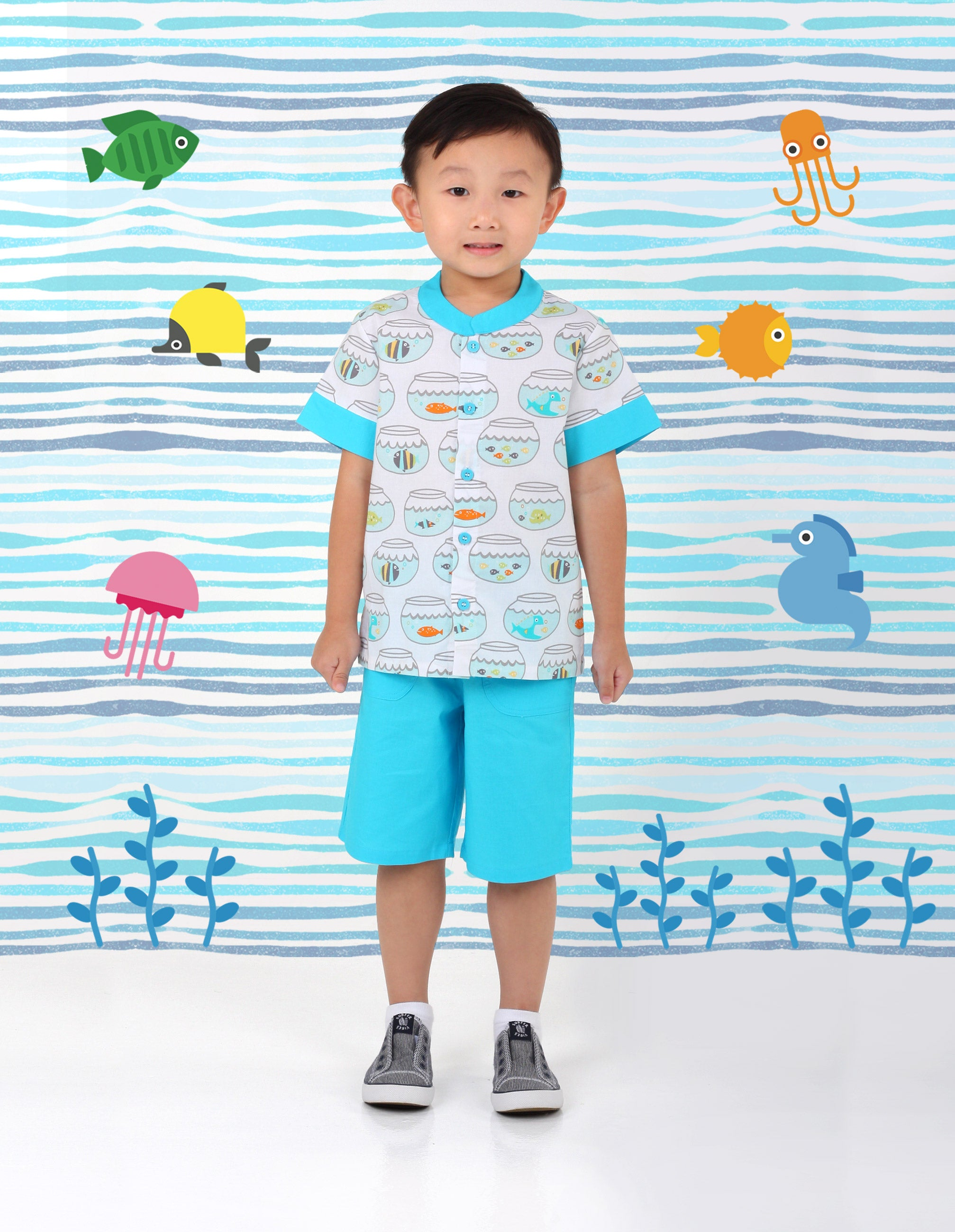 Fortune Fishes Boys Mandarin Shirt
