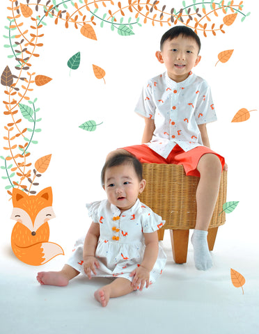 Fortune Foxes in Spring Mandarin Shirt