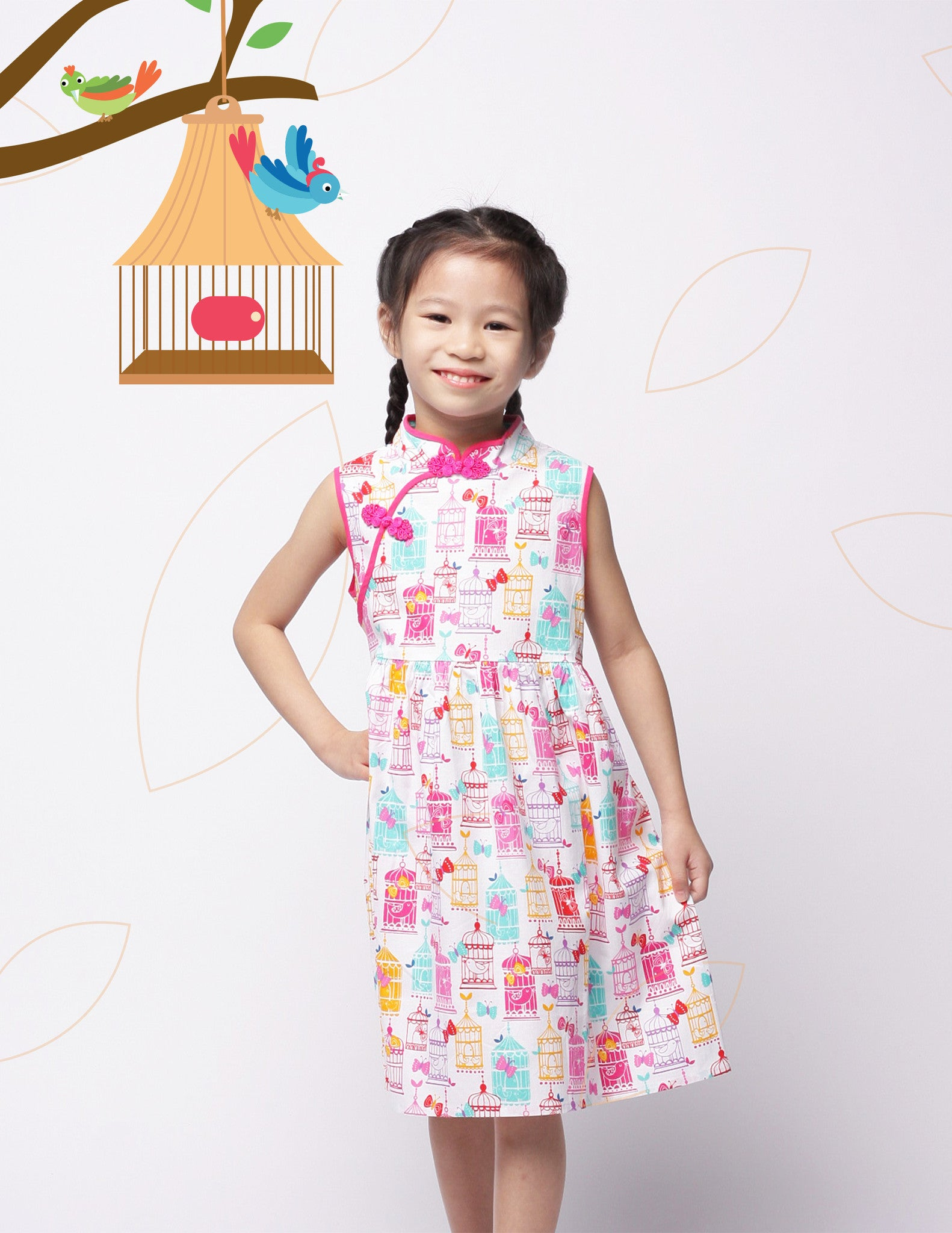 Pink Songbird in Spring Girls Cheongsam Dress