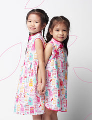 Pink Songbird in Spring Girls Cheongsam