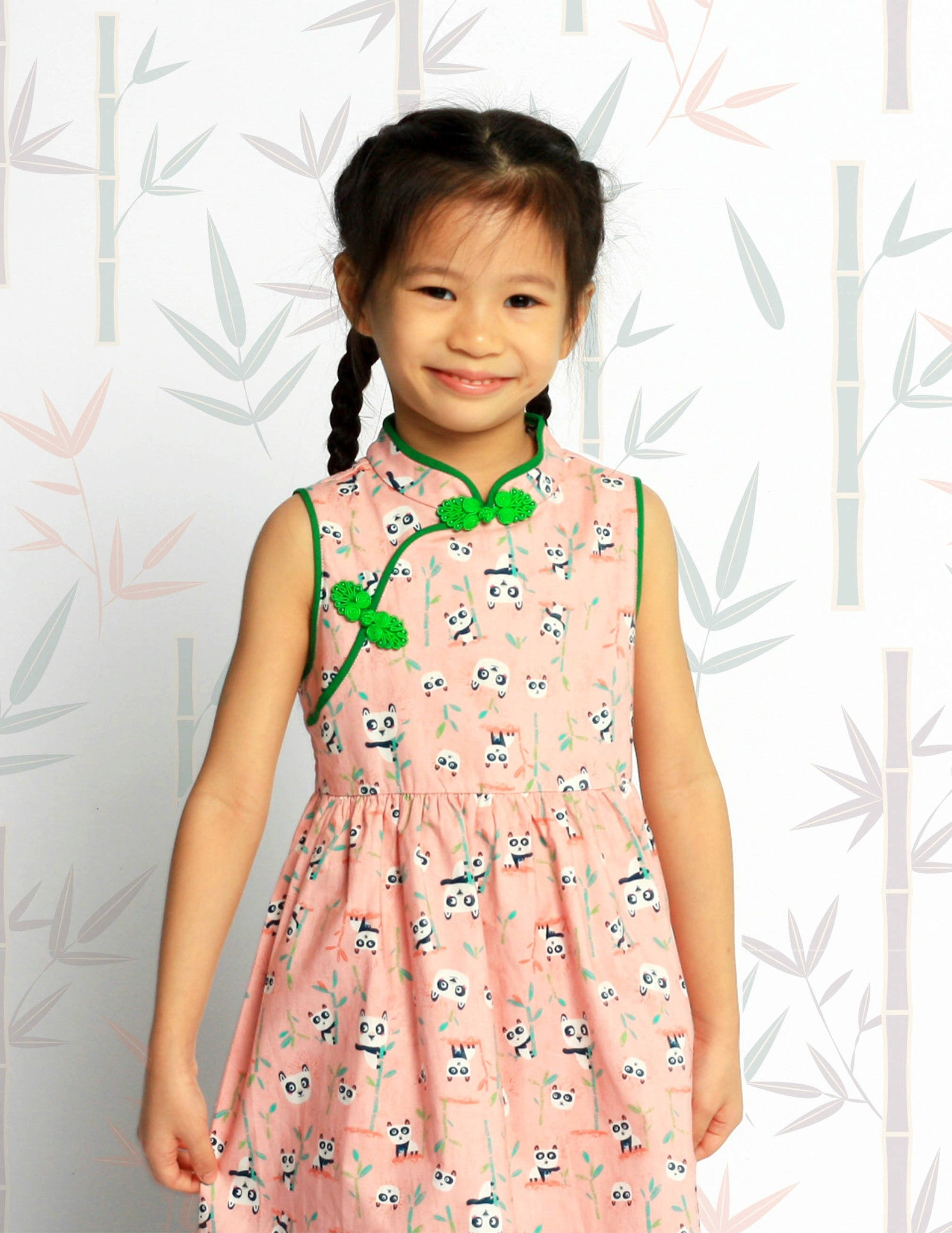 Pandas in Harmony Girls Cheongsam Dress
