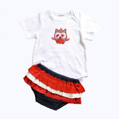 Flappy Owl in Red Girls Romper Set