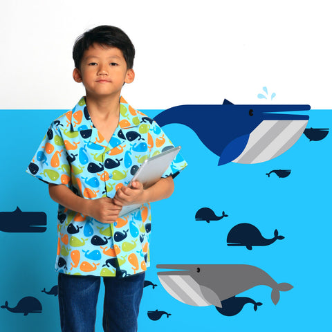 Whales in Blue Boys Shirt
