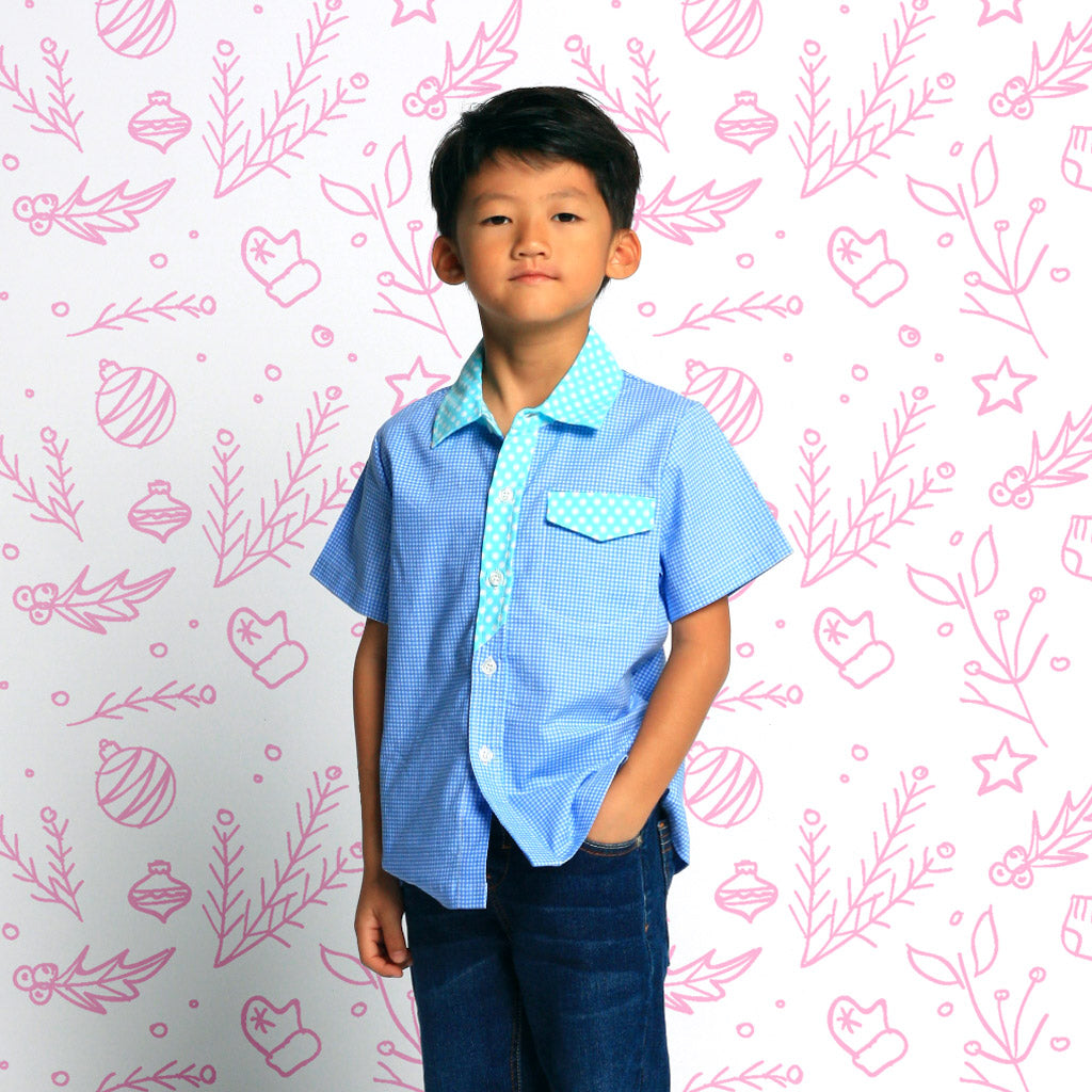 Gingham in Blue Boys Shirt
