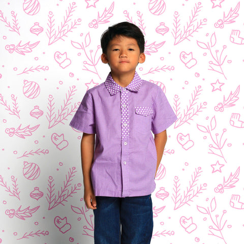 Gingham in Purple Boys Shirt