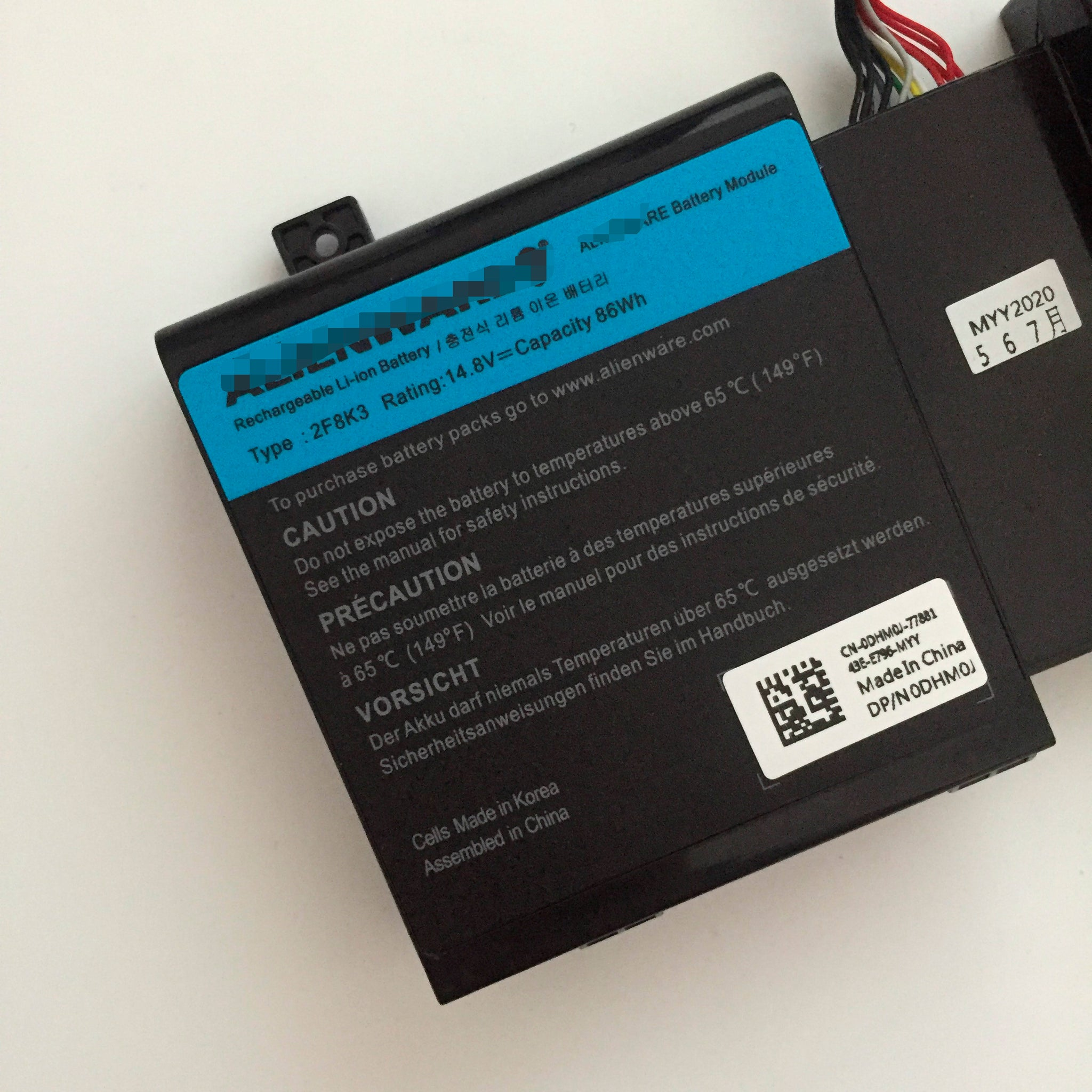 2F8K3 86Wh Replacement Battery For Dell Alienware 17 R5 18 R3 Alienware M17X R5