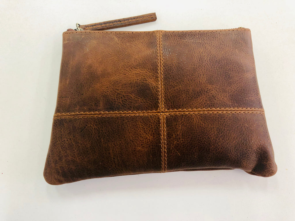 Leather Clutch - Tan