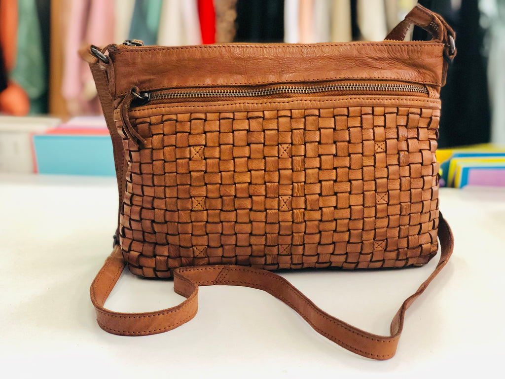 Maddison Leather Sling Bag- Tan